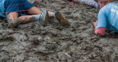 Crawling across the mud pool and then stopping in the middle Stock Footage