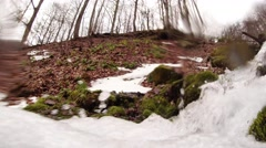 Rushing Flow of Water Mountain Stream on Background of Forest Close-Up Stock Footage