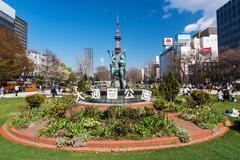 Woman statue at Odori Park, Sapporo Stock Photos