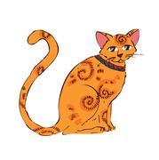 Image of orange cat isolated on white background - stock illustration