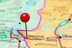 Valencia de Alcantara pinned on a map of Spain Stock Photos