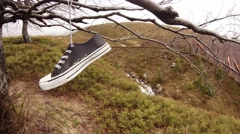 Sneaker Hanging on Bare Branch of a Tree on a Background of Mountains Covered Stock Footage