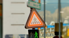 4K Lights on Warning Do Not Cross Pedestrian Traffic Sign Stock Footage