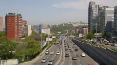 View of the city Vladivostok on the roads and residential quarters, Russia Stock Footage