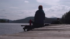 Girl Taking Photos with iPhone at Lake 4K - stock footage