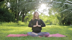 girl with a sports figure is engaged in yoga in Central Park - stock footage