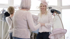 4K Female generations shopping in bridal wear store pose to take a selfie Stock Footage