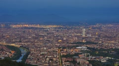 Aerial view of turin skyline early morning Stock Footage