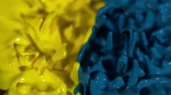 Blue and yellow paint mix on a thumping speaker in slow motion Stock Footage