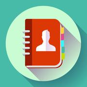 Address phone book icon, notebook icon. Flat design style - stock illustration