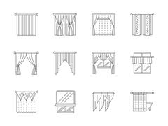 Curtains line flat vector icons set Piirros