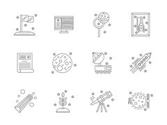 Space exploration line flat vector icons set Stock Illustration