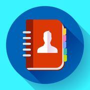 Address phone book icon, notebook icon. Flat design style Stock Illustration