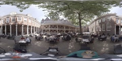 360 video of restaurant near the Amsterdam Museum Stock Footage