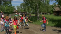 Teachers Accompanying a Group of Students on Trips. Stock Footage