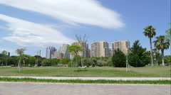Sky line at the Turia garden in Valencia Stock Footage