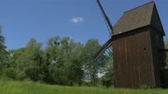 Old Windmill on the Background of Nature. Stock Footage