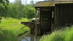 Side View of Water Wheel Stock Footage