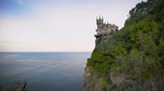 Well-known castle Swallow's Nest near Yalta in Crimea Stock Footage