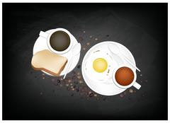 Coffee with Breakfast Fried Egg and Toast - stock illustration