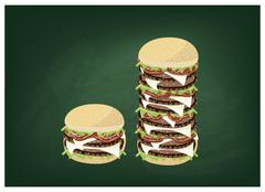 Big Cheese Burger on A Green Chalkboard - stock illustration