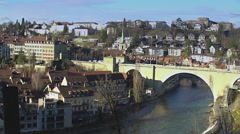 Old city of Bern panorama, tourist attraction in Switzerland, UNESCO heritage Stock Footage