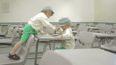 Little Boys Using Technology In Higher Education Stock Footage