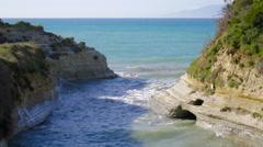 Seaside beautiful touristic destination sandstone eroded coastline ripping water - stock footage