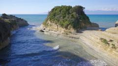Seaside touristic destination eroded coastline Sidari Corfu Island Greece Stock Footage