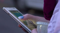Female hands typing message on smartphone, modern communication technology Stock Footage