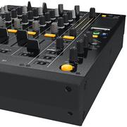 Dj mixer control table panel, close view - stock illustration