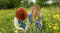 Girls fill up hair. Slow motion - stock footage
