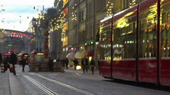 Crowded city downtown, many people go shopping and strolling, public transport Stock Footage