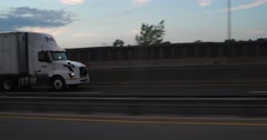 Tractor Trailer Truck on Highway 4k Stock Video - stock footage