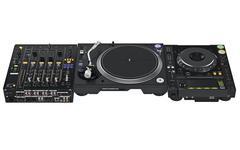 Dj table set mixer, audio equipment - stock illustration