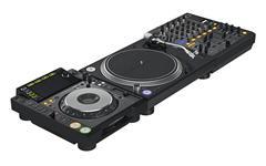Set black dj mixer equipment - stock illustration