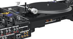 Backside panel turntable vinyl player, close view Stock Illustration