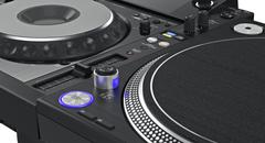 Luminous buttons dj turntable, zoomed view Stock Illustration