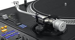 Vinyl needle dj turntable, zoomed view - stock illustration