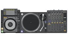Set dj music mixer table, top view - stock illustration