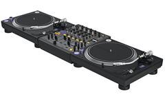 Professional table dj mixer music equipment - stock illustration