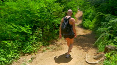 4K Head Hairless Woman Hikes Down Dirt Path, Forest Hike, Cancer Patient - stock footage