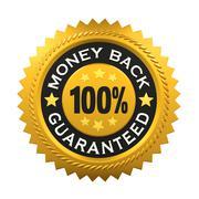 Money Back Guaranteed Label - stock illustration