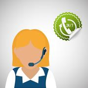 Call center design. customer service icon. Isolated illustration , vector - stock illustration