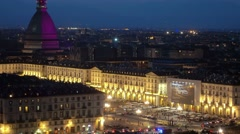 Turin city skyline illuminated at night Stock Footage