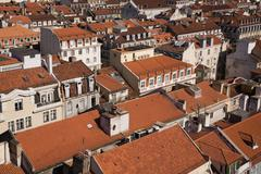 Lisbon rooftops viewed from Santa Justa Lift, Portugal - stock photo