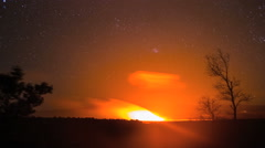 Night Sky and Lava from Hawaii Volcano Stock Footage