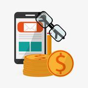 Digital Marketing design.Communication and ecommerce. Colorful, vector - stock illustration