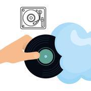 Music design. vinyl icon.  White background , vector - stock illustration