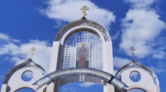 Religious symbols, sky with clouds, timelapse Stock Footage